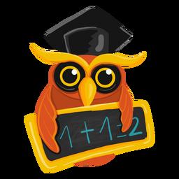Graduate owl holding chawkboard