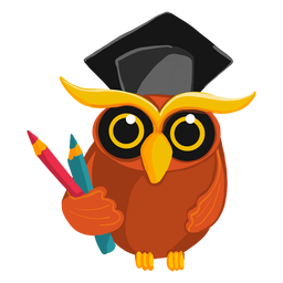 Graduate owl holding pencils