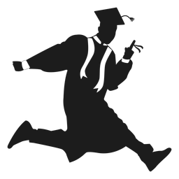 Jumping graduate holding diploma silhouette