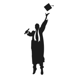 Jumping graduate throwing hat silhouette