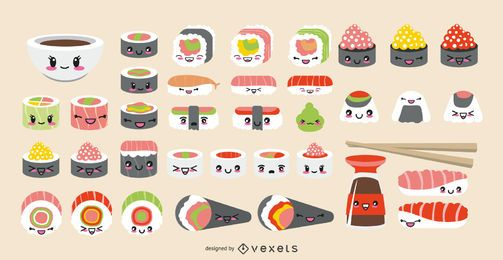 Conjunto de sushi emoticon Kawaii