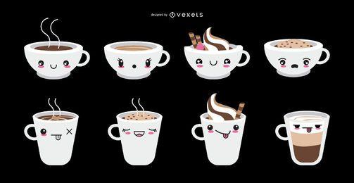 Kawaii emoticon coffee cups set