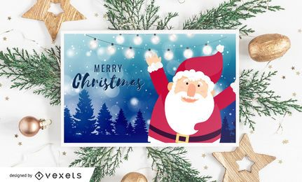 Santa Merry Christmas Card Design