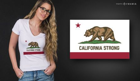 Diseño de camiseta fuerte de California