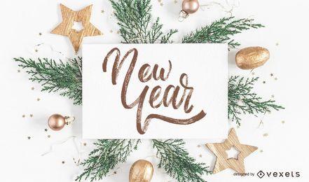 Letras manuscritas de año nuevo