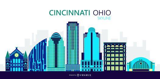 Ilustración del horizonte de la ciudad de Cincinnati Ohio