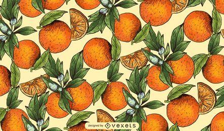 Patrón de naranjas dibujado a mano