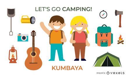 Camping Vector Elements Set