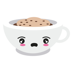 Disappointed kawaii face coffee cup