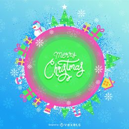 Cute candy-colored christmas banner