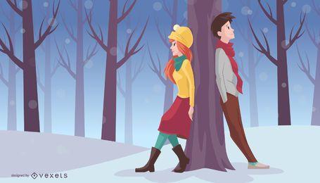 Xmas couple leans on tree
