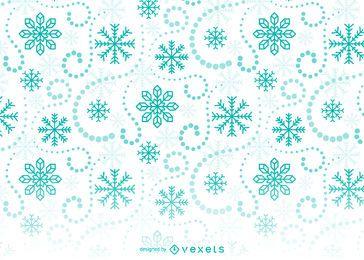 Patrón de fondo verde copos de nieve