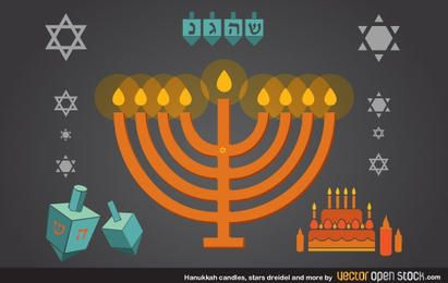 Velas de Hanukkah, estrellas, dreidel y más