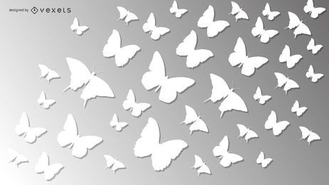 White Paper Cut Butterfly Pack