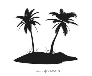 Silhouette Palm Tree Island
