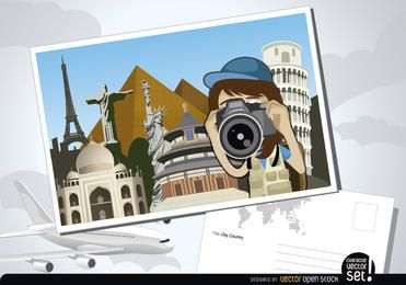 Travel photography postcard
