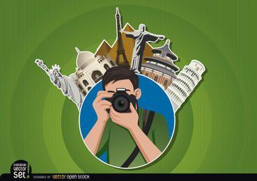 El fotógrafo logotipo con puntos de referencia