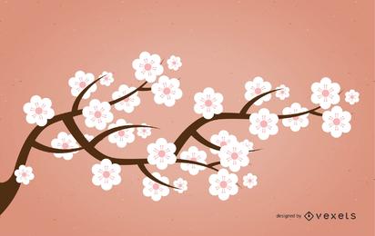 Silhouette Sakura Branch with Pinkish Flowers