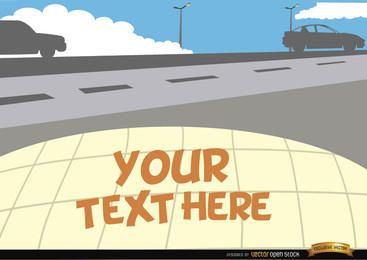 Cars on the road with text space