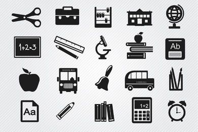 Study objects icons set