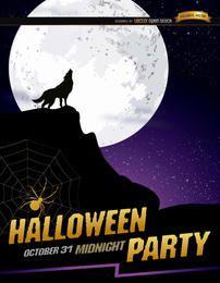 Aullido del lobo luna llena cartel de Halloween