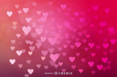 Glowing Bokeh Hearts Wedding Background