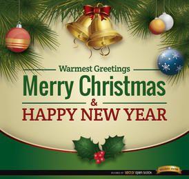 Tarjeta de Navidad saludos adornos