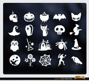 20 Halloween white flat icons set