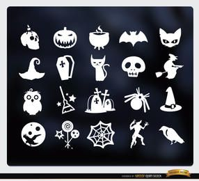 20 iconos planos blancos de Halloween set