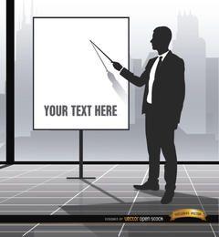 Executive pointing presentation screen
