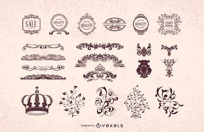 Vintage Heraldic Decorative Ornament Pack