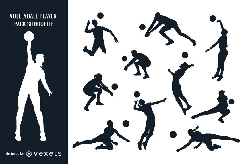 Male Female Volleyball Player Pack Silhouette