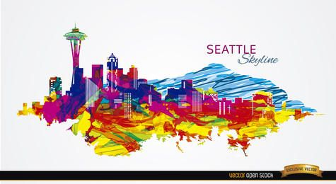 Colorful strokes Seattle skyline