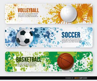 Volleyball basketball soccer grunge banners