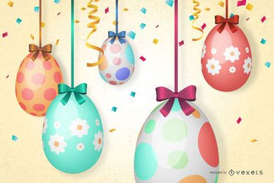 Easter Eggs Hanging with Ribbon