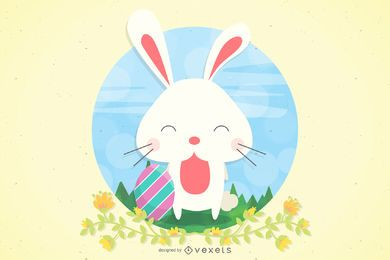 Bunny Easter with Egg & Grasses