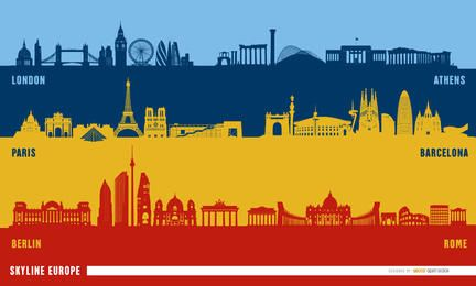 European landmarks skyline