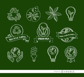 11 iconos ecológicos Doodle