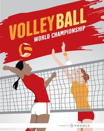 Volleyball girls playing poster