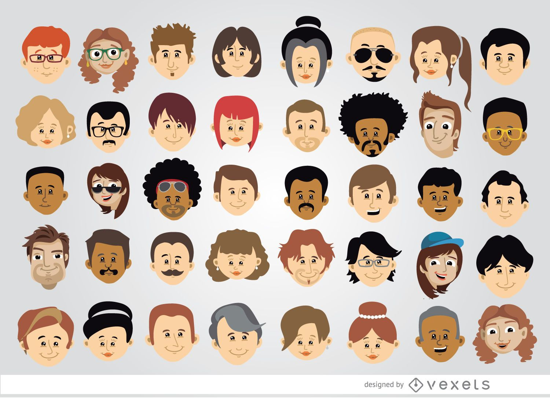 40 cartoon character heads vector download