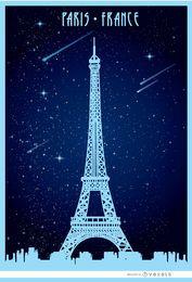 Paris Eiffel starry poster