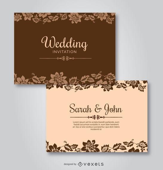 Invitaciones de boda floral Plantilla - Descargar vector