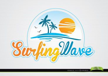 Palms Sun Beach Typography Logo