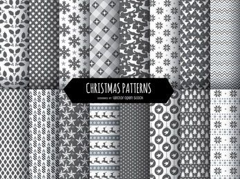 16 Christmas black and white patterns