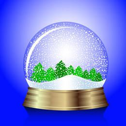 Christmas snow-globe with trees