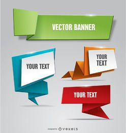 Folded paper banner Origami style