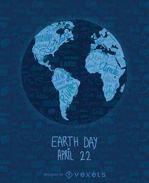 Día de la Tierra por escrito mapa del mundo