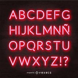 Red neon alphabet vector