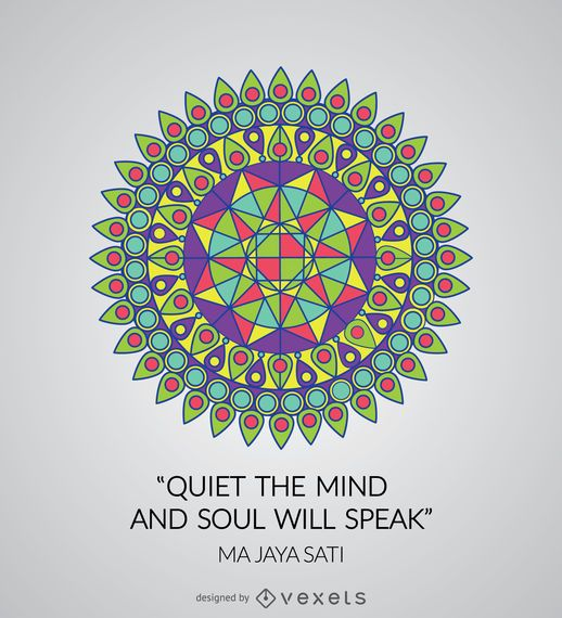 Colorful geometric mandala with quote