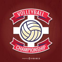 Red volleyball championship vector
